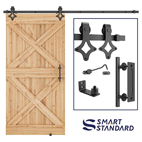 SMARTSTANDARD 8FT Heavy Duty Sliding Barn Door Hardware Kit Single Rail, Black, Smoothly and Quietly, Simple and Easy to Install Fit 48