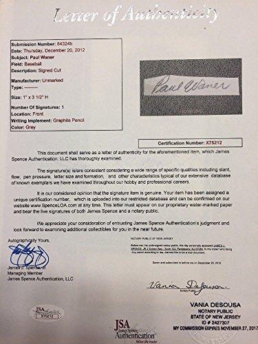 Paul Waner Autographed Signed Signature Auto Autograph Cut Matted With Postcard JSA Loa