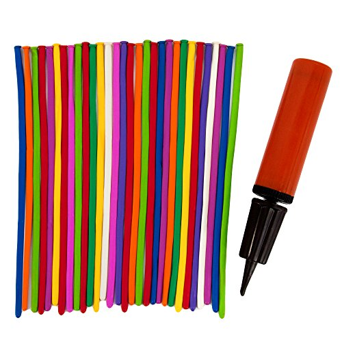 Sepco Long Twisting Balloons Assorted Colors 200 Pack, with a Bonus Balloon Pump