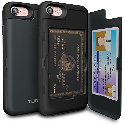TORU CX PRO iPhone 8 Wallet Case Dark Blue with Hidden Credit Card ID Slot Holder Hard Cover & Mirror for iPhone 8 / iPhone 7 - Metal Slate