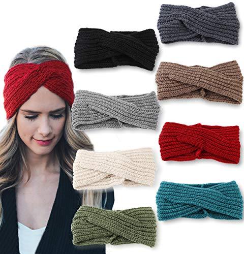 LOLIAS 8 Pack Crochet Turban Headband Winter Knitted Hairband Braided Ear Warmer Headwraps for Women Girls