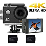 DVEETECH S2 Action Camera 4K Wifi Sport Camera 16Mp Action Cam 1080p HD Waterproof DV Camcorder Diving Underwater Cams,Bicycle Helmet Camera 170°Ultra Wide-Angle Len with SONY Sensor,2 Batteries