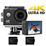 "Cheap 4K Underwater Action Camera,2"" HD Display,10m Built-in WiFi,16Mp,30fps,98ft,170° Wide-Angle Waterproof Camera with Sony Sensor.Portable Sports Camera Recorder for Parkour Diving Ski Biking"