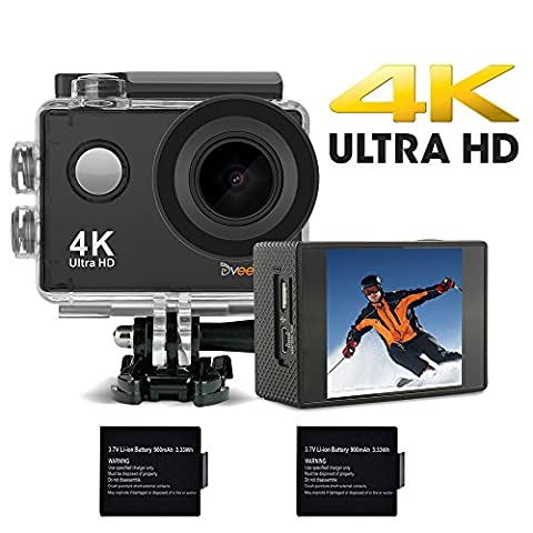 DVEETECH S2 4K Sports Action Camera Waterproof WIFI Camcorder 16MP 170° Ultra Wide-Angle Car Mode 2x900mAh Batteries Portable Package Accessory (Waterproof Camera With Zoom)