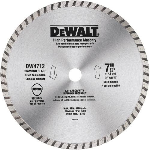 DEWALT DW4712B3 7-Inch High Performance Diamond Masonry Blade, 3-Pack (Concrete Blade)