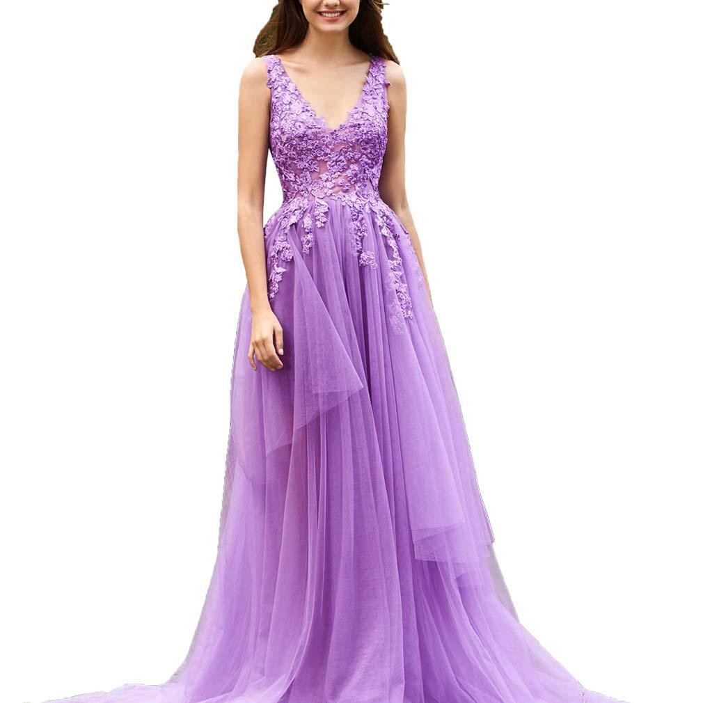 purplec Fashionbride Women's V Neck Lace Tulle Backless Long Formal Prom Dresses 2019