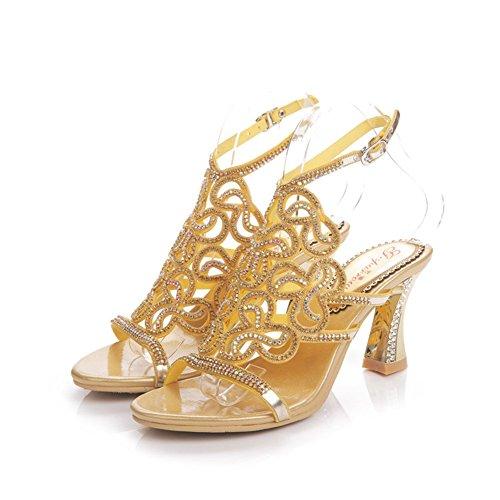 Huecos Sandalias Coreano de Mujer Diamantes Zapatos Sandalias tamaño Alto Alta Atractivas 44 imitación de de Diamante Gama Cristal Mujer Color tacón Oro de de Verano de de qw88UIH