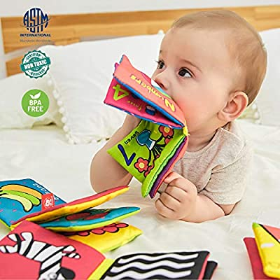 TOP BRIGHT Soft Cloth Books for Babies First Year, Baby Toys 6 to 12 Months Girls and Boys, Crinkle Books for Infants Educational Toy(Pack of 6): Toys & Games