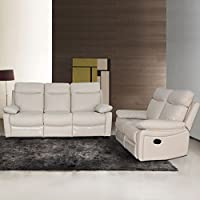 AC Pacific Ryker Collection Contemporary 2-Piece Upholstered Leather Living Room Set with Reclining Sofa and Loveseat, Taupe