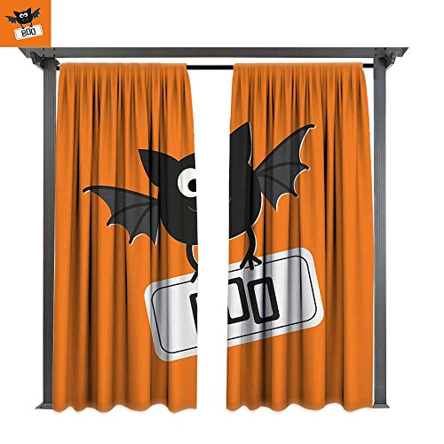 leinuoyi Halloween, Outdoor Blackout Curtains, Cute Funny Bat with Plate Boo Fangs Scare Frighten Seasonal Cartoon Print, Outdoor Privacy Porch Curtains (W84 x L96 Inches Orange Black White ()