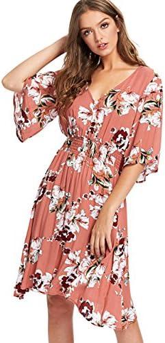Milumia Women`s Boho Button Up Split Floral Print Flowy Elegant Party Dress