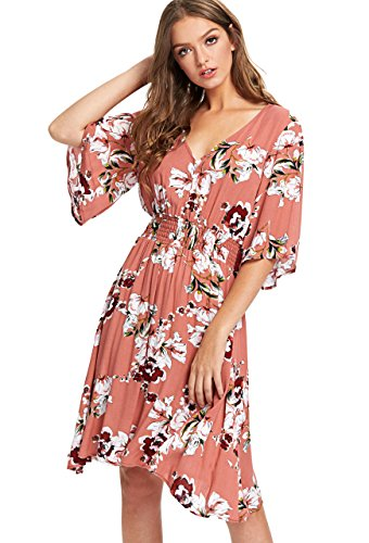 Milumia Women's Boho Button Up Split Floral Print Flowy Party Dress X-Large Multicolor-5