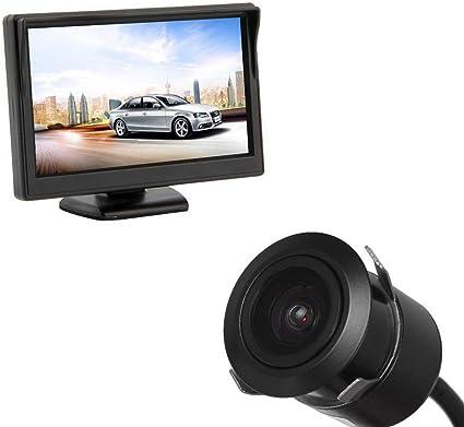 WEPECULIOR Monitor del estacionamiento del Coche de la Pantalla HD de 5 Pulgadas TFT LCD con la cámara de la Vista Posterior del Coche de la cámara de Reserva de los 18.5MM: