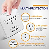 AbboTech Smart Wall Mount High Speed Surge Protector With 3AC Outlets And 2USB Charging Ports ,White ,ETL Certified