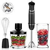 OXA Smart 800W Powerful 12-Speed 4-in-1 Immersion Hand Blender Set Includes Food Chopper, Egg Beater and Beaker, PP Slip-proof Ergonomic Grip Detachable,Comfortable Silicone Button, Anti-Splash, Black