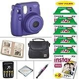 Fujifilm Mini 8 Instant Film Camera (Grape) - Fujifilm Instax Film 100 PCS - Battery & Cahrger - Photo Album - Case