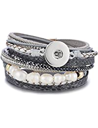 Layered Leather Bracelet Ginger Snap Interchangeable Jewelry Magnetic Clasp
