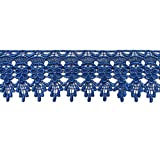 """Altotux 3"""" Embroidered Floral Scalloped Venice Lace Trim Victorian Guipure Sewing Supplies By Yard (Royal Blue)"""