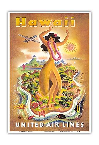 Pacifica Island Art Hawaii - Hawaiian Hula Dancer - United Air Lines - Vintage World Travel Poster by Joseph Fehér c.1949 - Hawaiian Master Art Print - 13 x 19in (Hawaii Travel Poster)