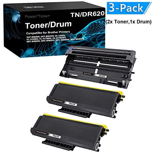 (3-Pack (2X Black Toner,1x Drum Unit) Compatible HL-5370DW Laser Printer Toner Cartridge Drum Unit Replacement for Brother TN650 DR620 by PowerToner)