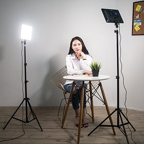2 Packs VILTROX LED Panel Light with Stand Kit, (30W/2450Lux) Bi-Color Dimmable Studio Photography Video Lighting kit CRI95+ for Wedding News Interview YouTube Live Video by VILTROX (Image #1)
