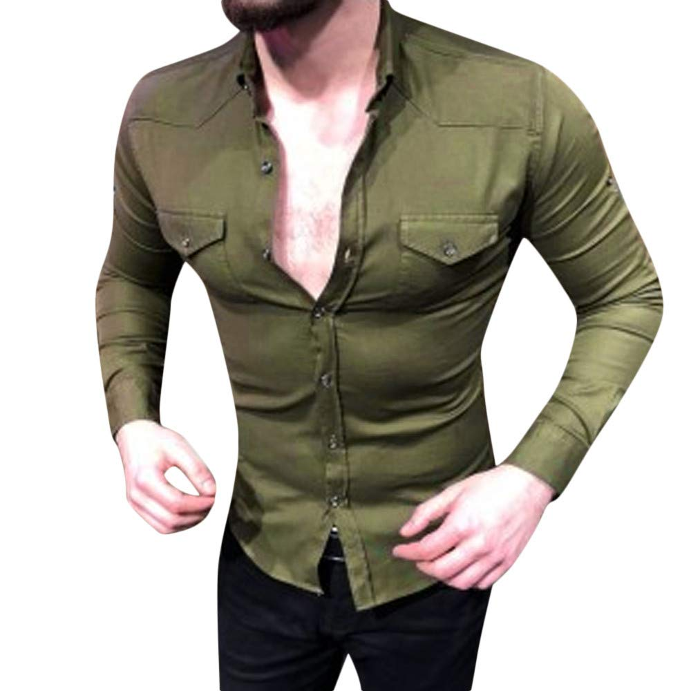 PASATO Mens Autumn Winter Casual Solid Pullover Long Sleeved T-Shirt Top Blouse
