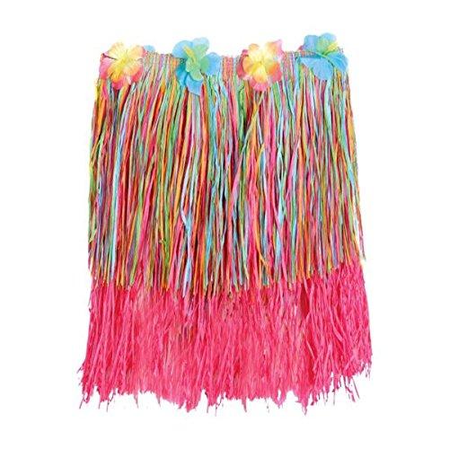 Amscan Hawaiian Summer Luau Adult Plastic Rainbow Hula Skirt Wearables Party Supplies (3 Piece), Multicolor