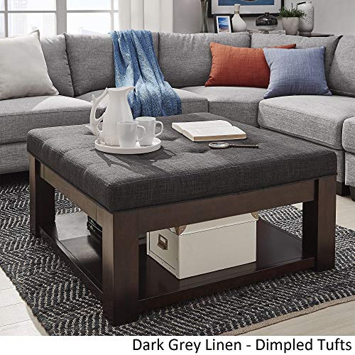 Inspire Q Lennon Espresso Square Storage Ottoman Coffee Table by Classic - 38 x 38 x 19 Dark Grey Linen/Dimpled Tufts