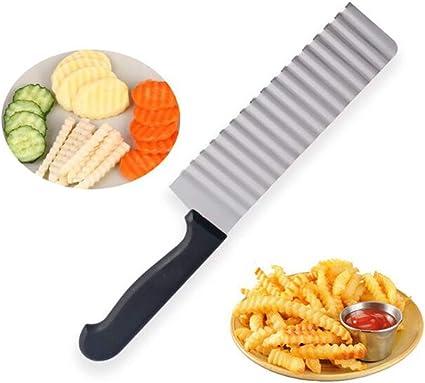Acier Inoxydable Argent Barre Vert TaoNaisi Couteau Cuisine Outil de Coupe de Plis de Pomme de terre Légumes