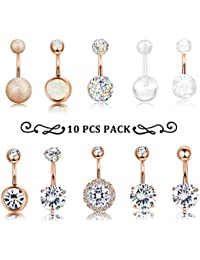 10 PCS 14G Surgical Steel Belly Button Ring Navel Ear Rings CZ Body Piercing Jewelry