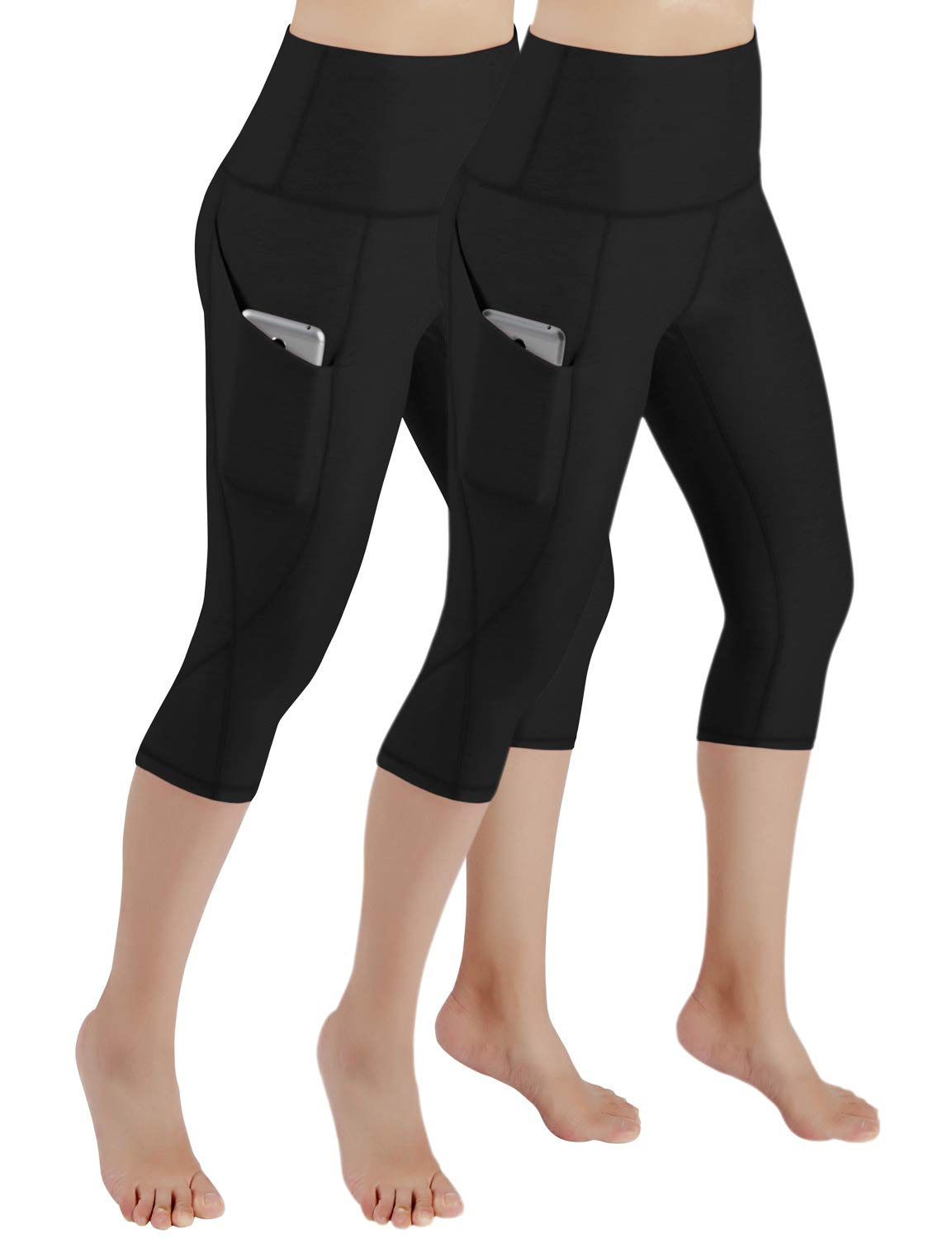 ODODOS Women's High Waist Yoga Capris with Pockets,Tummy Control,Workout Capris Running 4 Way Stretch Yoga Leggings with Pockets,Black2Pack,X-Large by ODODOS