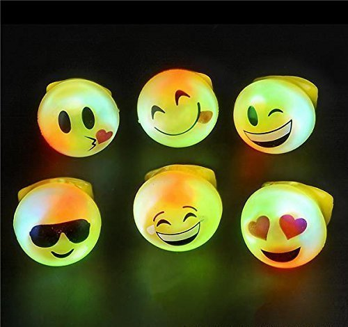 RIN Bright Flashing Emoji LED Rings, 24 -