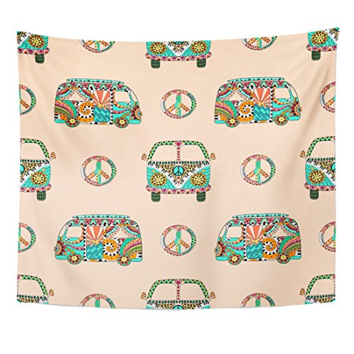Breezat Tapestry Colorful Hippie Camper Bus and Symbol Peace in Zentangle Hippy Ornamental Pacific Sign Mini Van Boho Home Decor Wall Hanging for Living Room Bedroom Dorm 50x60 Inches (Hippy Van)