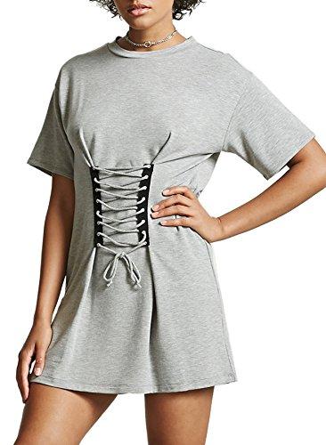 Coutgo Dentelle Col Rond Casual Manches Courtes Femmes Été En Gris Robe T Shirts