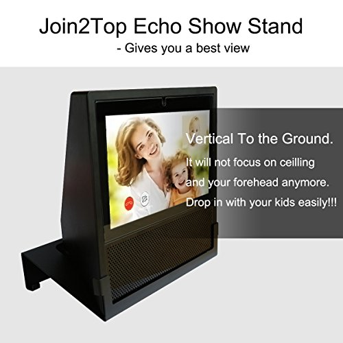 Original Stand Holder Wall Mount Bracket For Echo Show Home Speaker - (Camera's) Angle Parallel to the Wall and Protect Echo Show Charger Cords Organizor, Easy to Install (Black Solid Metal)