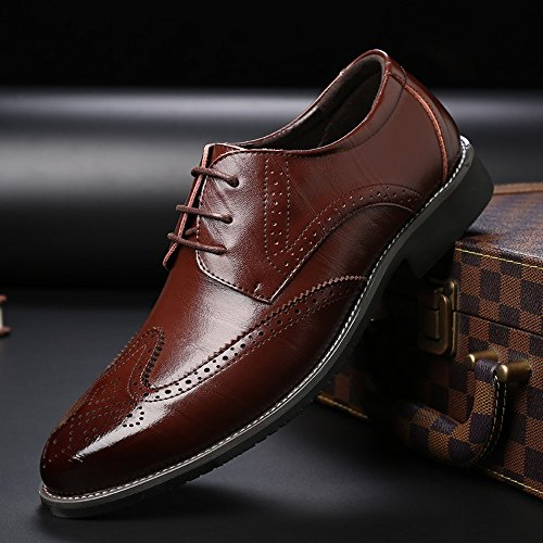 Oxford amp;Baby Top Low foderato 42 Scarpe all'abrasione in Up EU Brown brogue traspirante uomo Color Business vera Blue Hollow Dimensione Carving Resistente Lace Sunny Wingtip da pelle qUdCnq