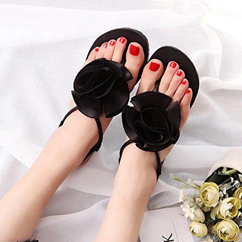Sandalias de vestir, Ouneed ® Las mujeres señoras Bohemia ocio flor sandalias Peep-Toe zapatos Negro