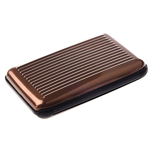 Aluminium Brown Toogoo Bourse Poche Boite D'entreprise Numero Rayures Titulaire Metal Case De Wallet Credit r Couleur qwSH1B