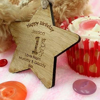 Personalised 1st Birthday Star Keepsake Baby Girls Gift Wooden Decoration