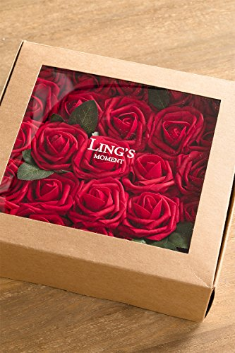 Lings-moment-Artificial-Flowers-50pcs-Real-Looking-Dark-Red-Fake-Roses-wStem-for-DIY-Wedding-Bouquets-Centerpieces-Bridal-Shower-Party-Home-Decorations