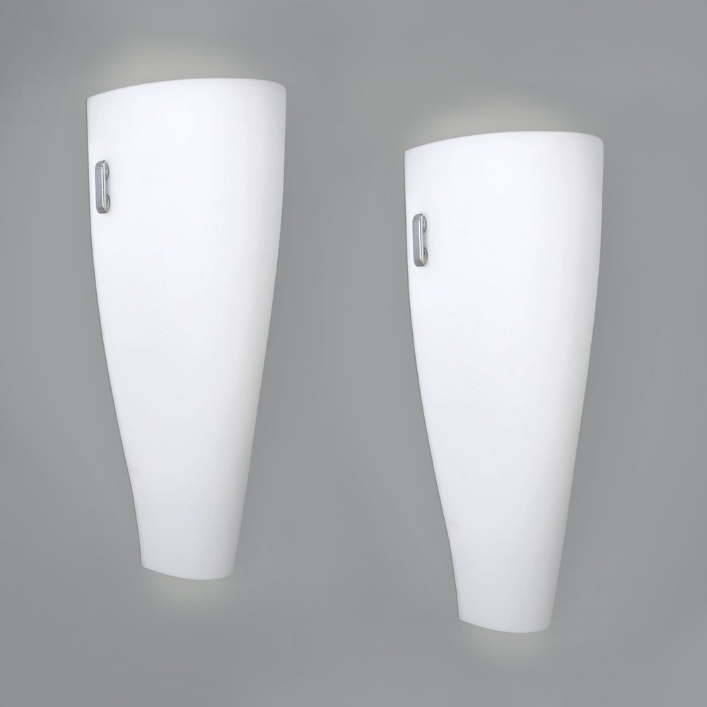 Pair Of - Modern White And Chrome Curved Frosted Glass Up/Down Indoor Flush Wall Light Fittings - Complete With 2 x 4w LED ES E27 Bulbs