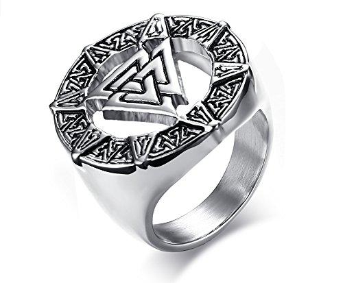 MP RAINBOW RING MP Men's Stainless Steel Valknot Nordic Rune Hrungnir Knot Viking Signet Wedding Band Ring Pewter,Size 9