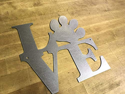 Love Paw Print Metal Home Wall Hanging Sign