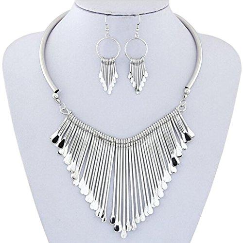 (iLH Luxury Necklace+Earrings Jewelry Set Womens Metal Tassels Pendant Chain Bib Necklace Earrings Wedding Bride Jewelry by ZYooh)