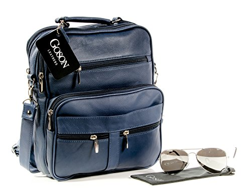 UPC 086629601910, Goson Men Genuine Leather Satchel iPad Messenger Bag Shoulder Organizer Bundle with Aviator Sunglasses Navy Blue