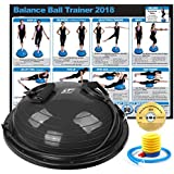 RitFit New Balance Ball Trainer with Resistance Bands (Free Exercise Wall Chart & DVD, Air Pump, Resistance Bands and More) (Black)