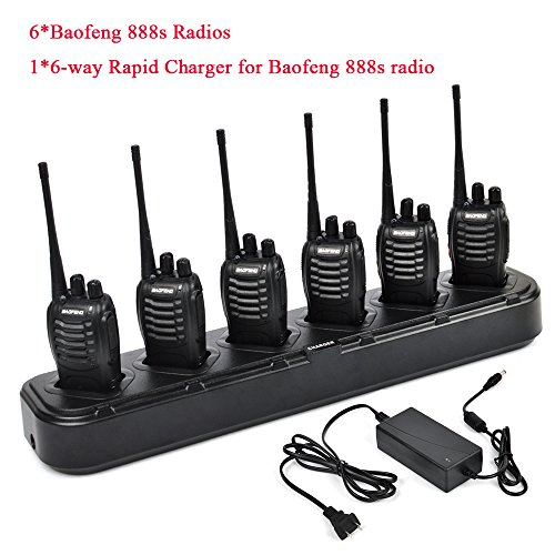 6 packs of Baofeng 888s Two Way Radio UHF 400-470MHZ Walkie Talkie Portable Ham Radio with 1 pcs 6-way Multi Unit Battery Charger for Baofeng- 888S BF-777S BF-666S Retevis H-777 by TWAYRDIO (Image #1)
