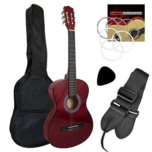 Tiger Beginner 1/2 Size Classical Guitar Pack - Red Guitar