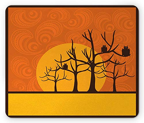 Halloween Mouse Pad, Bats on Trees Spooky Holiday Composition with Moon and Warm Backdrop, Standard Size Rectangle Non-Slip Rubber Mousepad, Orange Yellow Brown