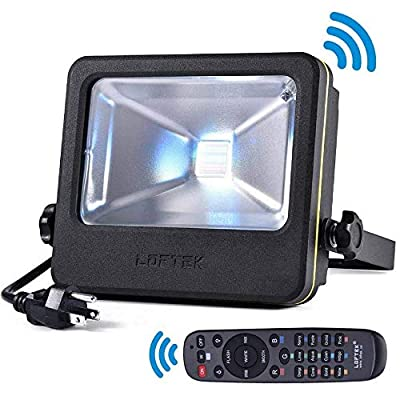 RGB Flood Light, 50 watts LED Security Floodlight, UL Listed Plug, 16 Colors Changing and 6 Levels Adjustable Brightness Outdoor Light by LOFTEK, NOVA S Series (Renewed)